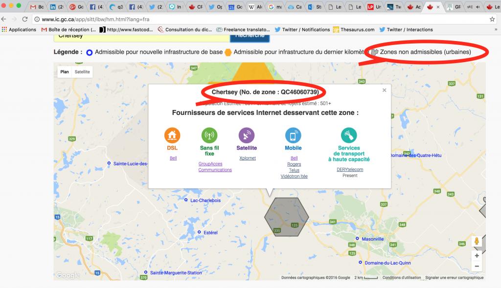 Haute vitesse supposé à Chertsey selon Industrie Canada