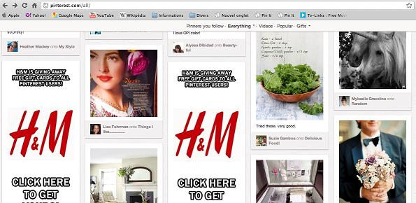 Spam de H&M sur Pinterest