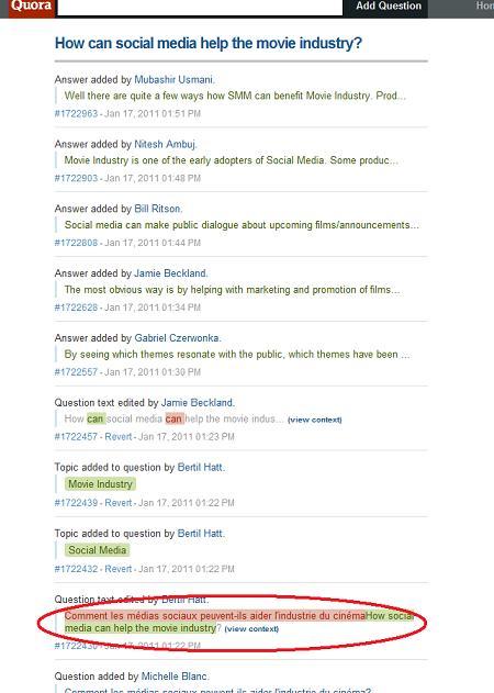 Les usagers de Quora sont rapides pour angliciser une question