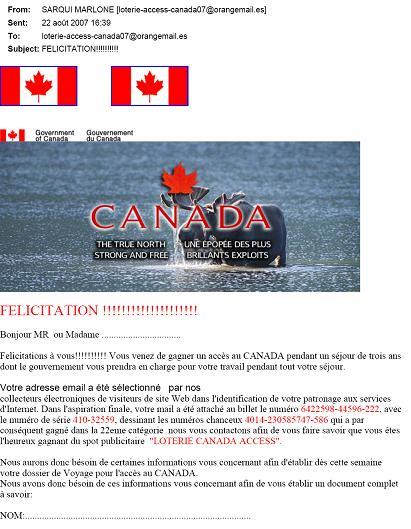 pourriel utilisant l'image du Canada