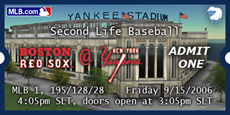 Billet Second Life, Red Sox vs Yankees
