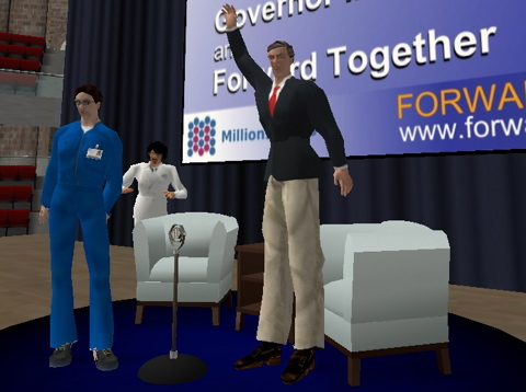 Le politicien américain Mark Warner dans Second Life