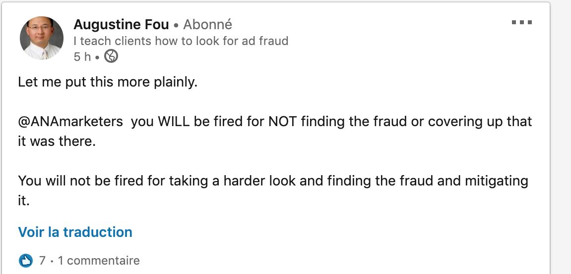 Augustine Fou traite l'ANA d'incompétents
