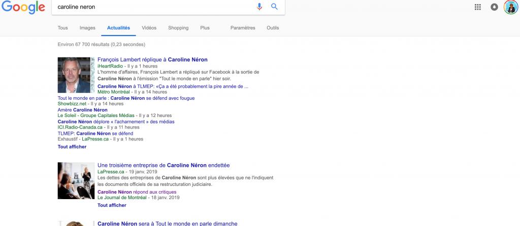 Résultat Actualité sur Google pour une recherche Caroline Néron