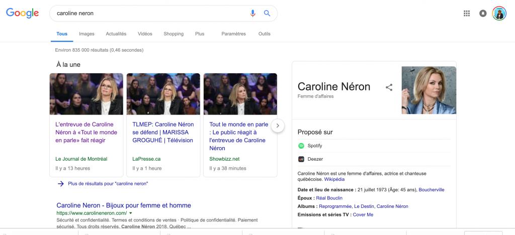 Résultat Naturel de Google pour une recherche Caroline Néron